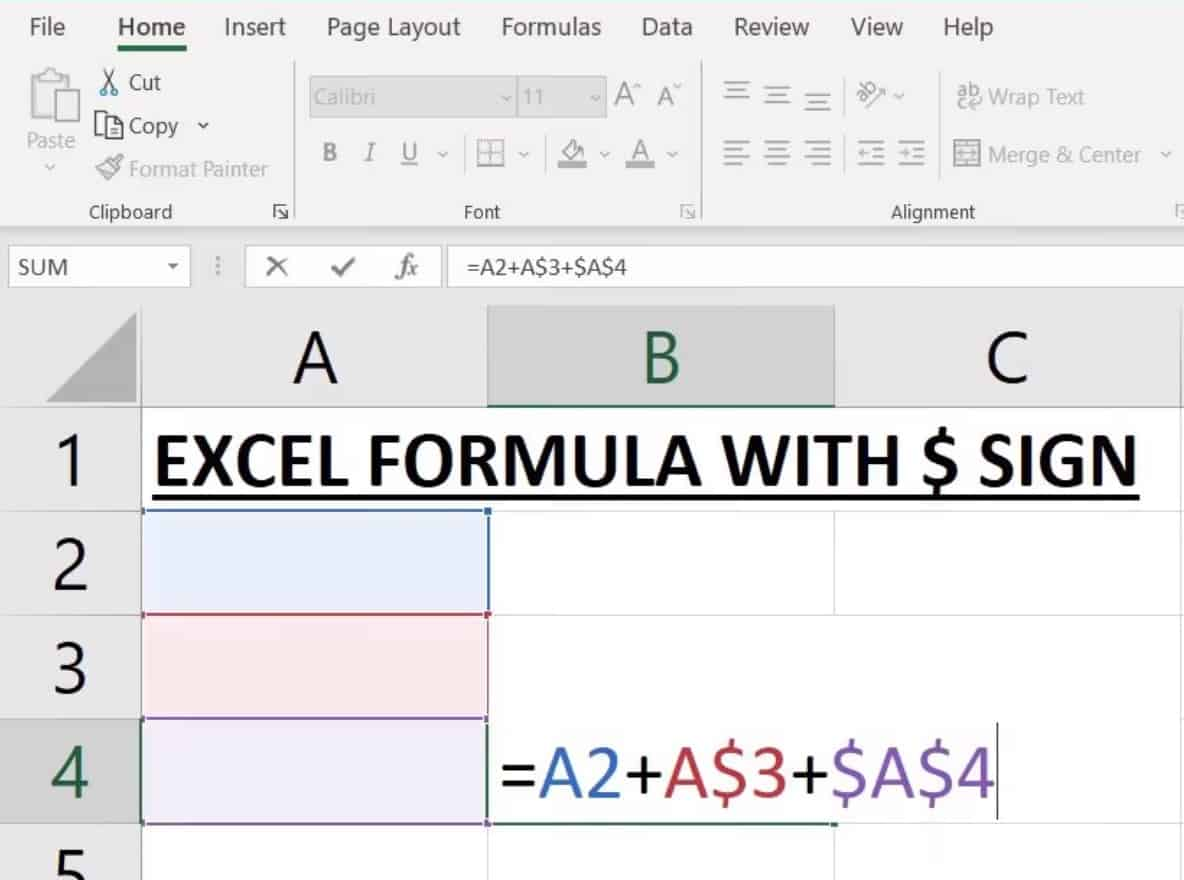 excel formula with dollar sign