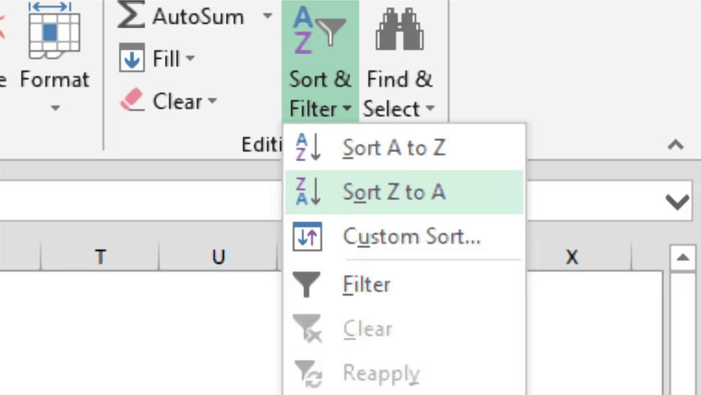 sort option in home tab